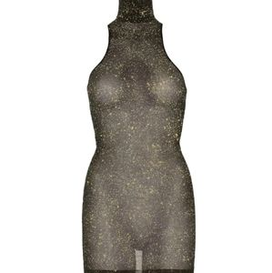 Lurex Shimmer Spandex High Neck Mini Dress - One S